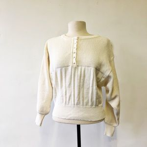 Vintage Cropped Andrew St. John Cream Sweater